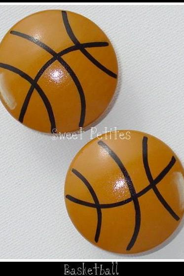 Hand Painted Knob Dresser Drawer or Nail Cover Basketball