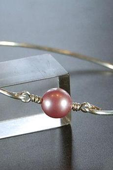 Bangle Bracelet- Rose Swarovski Pearl Bead and Sterling Silver Filled Wire- Custom Made to Size