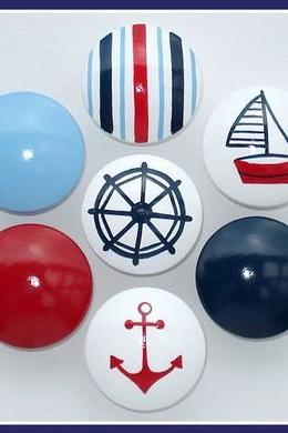 Hand Painted Knob Dresser Drawer or Nail Cover Nautical Sailboat Navy Blue Red White