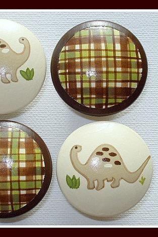 Hand Painted Knob Dresser Drawer Dinosaur Brown and Green Gingham Plaid