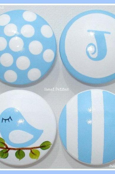 Hand Painted Knob Dresser Drawer Stripes Polka Dots Bird Personalized Baby Blue and White