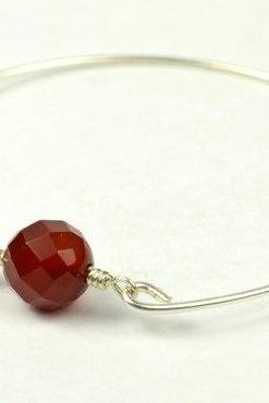 Carnelian Bangle Bracelet- Round Faceted Carnelian Bead and Sterling Silver Filled Wire- Custom Made to Size