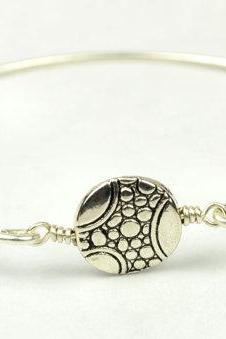 Silver Bangle Bracelet- Round Pewter Pebble Bead and Sterling Silver Filled Wire- Custom Made to Size