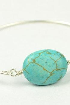 Turquoise Bangle Bracelet- Turquoise Oval Bead and Sterling Silver Filled Wire- Custom Made to Size