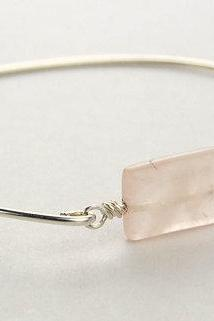 Bangle Bracelet- Rectangle Rose Quartz Gemstone Bead and Sterling Silver Filled Wire- Custom Made to Size