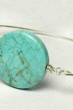 Turquoise Bangle Bracelet- Large Round Turquoise Bead and Sterling Silver Filled Wire- Custom Made to Size