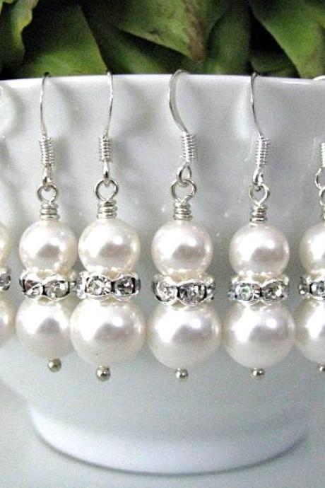 Set of Five (5) Bridesmaid Earrings - Crystal White Swarovski Pearls With Rhinestone Rondelles Bridal Earrings - Bridal Wedding Jewelry