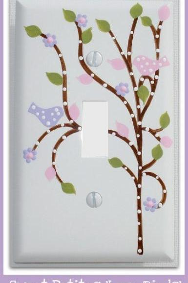 Hand Painted Switch Plate Cover Love Birds