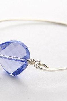 Periwinkle Twist Swarovski Crystal Sterling Silver Filled Bangle Bracelet-- Custom Made to Size