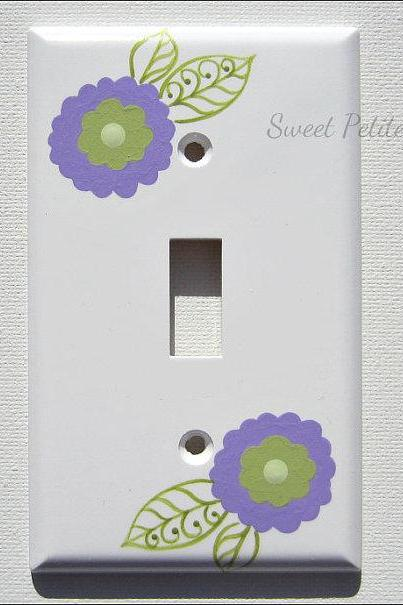 Hand Painted Switch Plate Cover Celadon Green and Lavender Daisies
