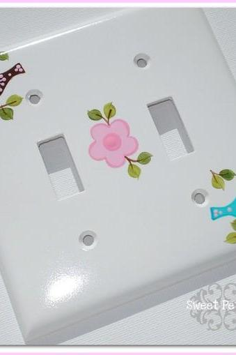 Handpainted Double Switch Plate Cover Love Birds Daisy