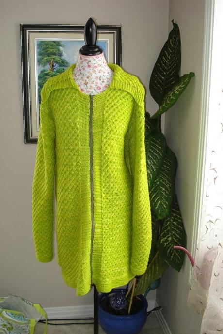 Ready to ship/Handmade Knitted Apple Green Coat/ Cardigan for both gender/ fit for woman size XL/ 2X/ 3X Even for 4X