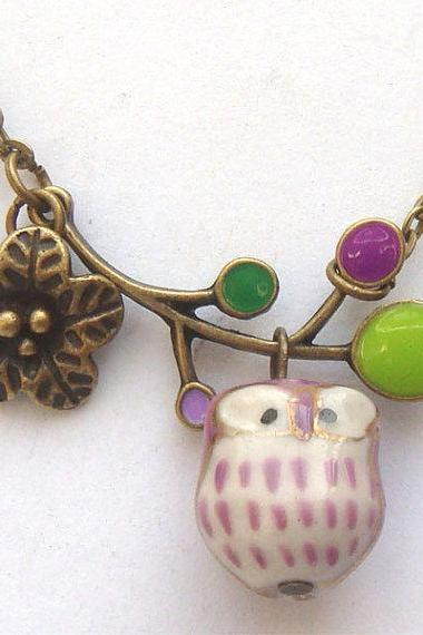 Antiqued Brass Leaf Flower Porcelain Owl Necklace