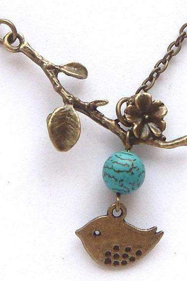 Antiqued Brass Bird Branch Turquoise Necklace