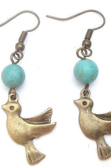 Antiqued Brass Bird Green Turquoise Earrings
