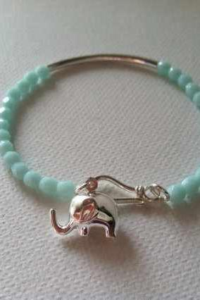 Turquoise and Sterling Silver Lucky Elephant Chram Bracelet, Perfect Christmas Gift for Her