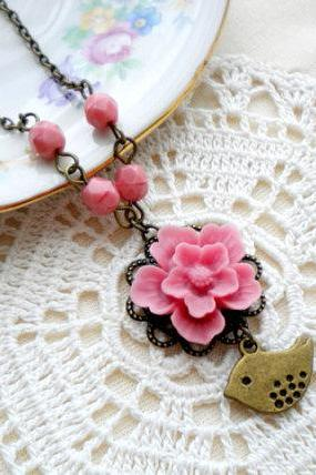 Pink Flower Necklace - Bridesmaid Necklace - Bird Necklace - Vintage Necklace