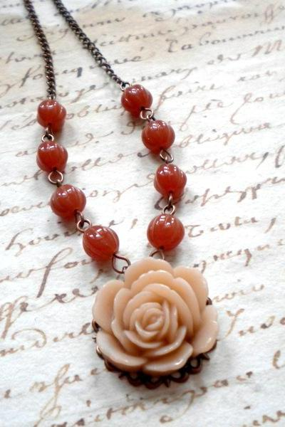 Flower Necklace with Latte Rose Cabochon and Caramel Glass