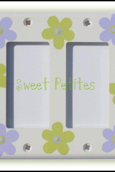 Hand Painted Switch Plate Cover Double Rocker Style Retro Daisies