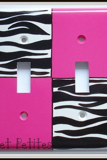 Hand Painted Switch Plate Cover Hot Pink and Zebra