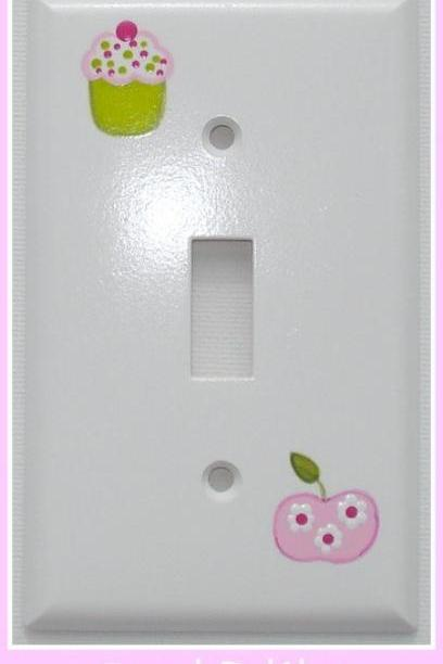 Hand Painted Switch Plate Cover Cupcake Apple