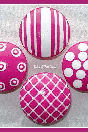 Hand Painted Knob Dresser Drawer or Nail Cover Hot Pink Textures Hand Painted Knob Dresser Drawer or Nail Cover Hot Pink Textures