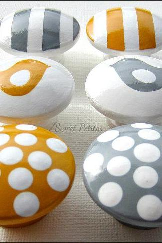 Hand Painted Knob Dresser Drawer Gray and Yellow Stripes - Polka Dots - Birds