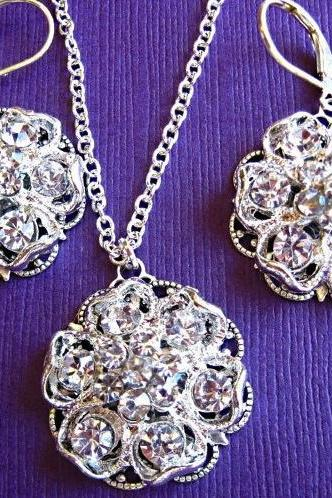 Wedding Necklace and Earrings Set, Blooming