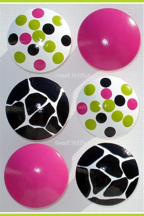 Hand Painted Knob Dresser Drawer Hot Pink Giraffe Polka Dots