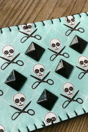 Skull & Scissors Studded Card / Pill Pack Sleeve
