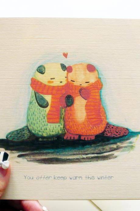 You Otter keep warm this winter christmas valentine love card