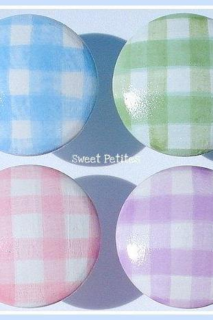 Hand Painted Knob Dresser Drawer or Nail Cover Gorgeous Gingham Blue Pink Purple Green