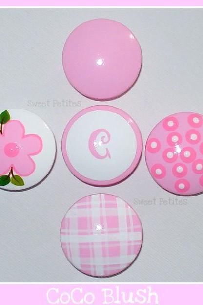 Hand Painted Knob Dresser Drawer or Nail Cover Personalized Gingham Polka Dots Blush Pink