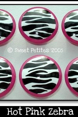 Hand Painted Drawer Knob Nail Cover Hot Pink and Zebra Diva Collection