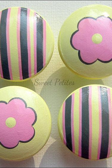 Hand Painted Knob Dresser Drawer Stripes and Daisies Yellow Pink Gray