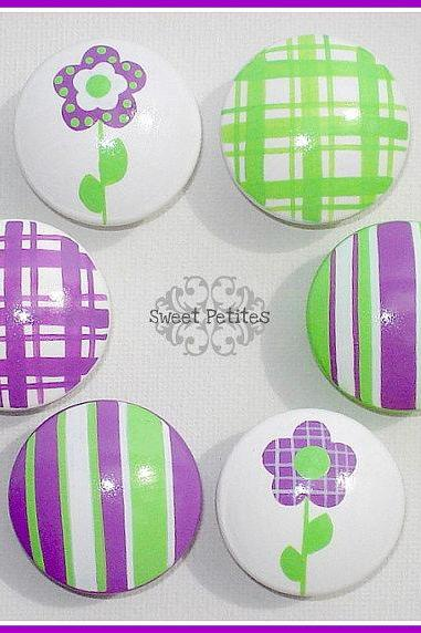Hand Painted Drawer Knob or Nail Cover Purple and Green Daisies and Stripes