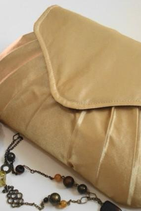 Bridesmaids Clutch Gold Satin Pleated Wedding Accessory