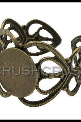 10pcs Antique Brass Filigree Adjustable Ring Blank Findings With Pad 8mm C67
