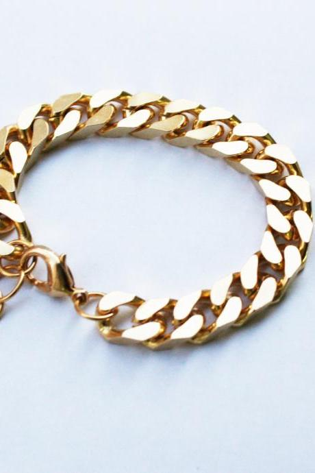 Gold Plated Link Chain Bracelet Gold Curb Chain bracelet