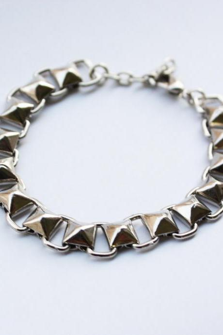 Pyramid Stud Bracelet in Silver - studded chain - spiked chain