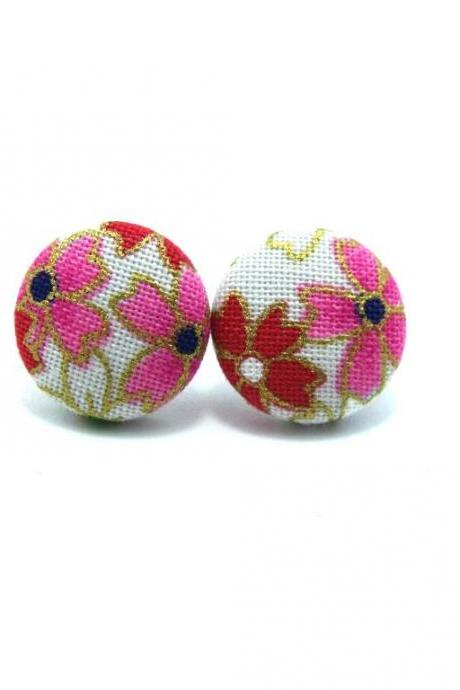 Button earrings -Japan Sakura Kimono On White
