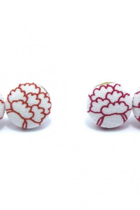 Button earrings -Japan Peony Flower Red or Orange