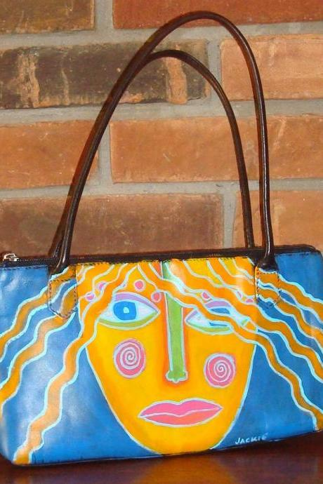 Hand Painted Handbag Shoulder Bag Purse With My Funky Abstract Portrait of a Woman