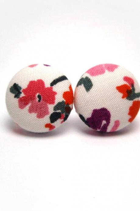 Button earrings -Japan Abstract Sakura On White