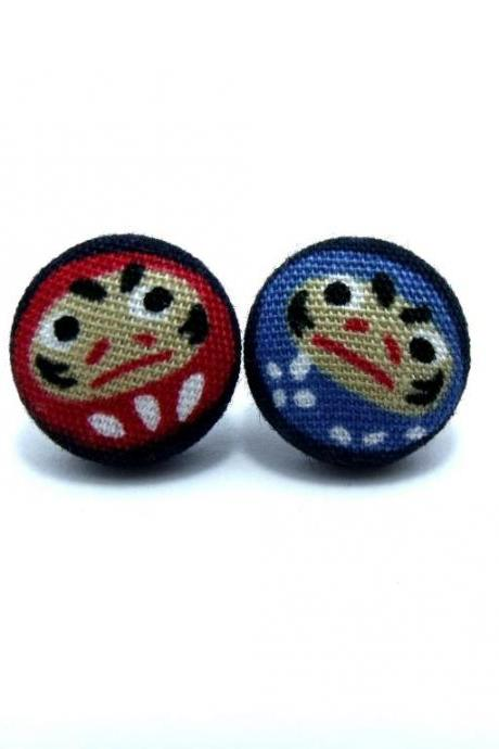 Button earrings - Japan Daruma Dolls