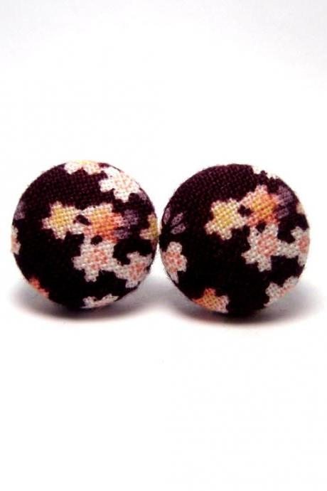 Button earrings - Japan Kimono Sakura Studs On Purple