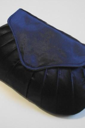 Navy Blue Satin Bridal Clutch - Pleated Bridesmaid Gift for Weddings - Evening Bag