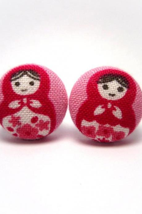 Button earrings -Pink Russian Dolls