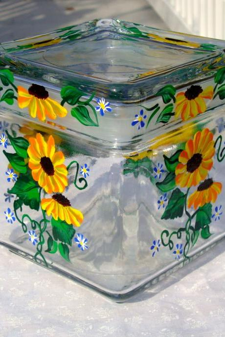 Glass Jar With Painted Sunflowers