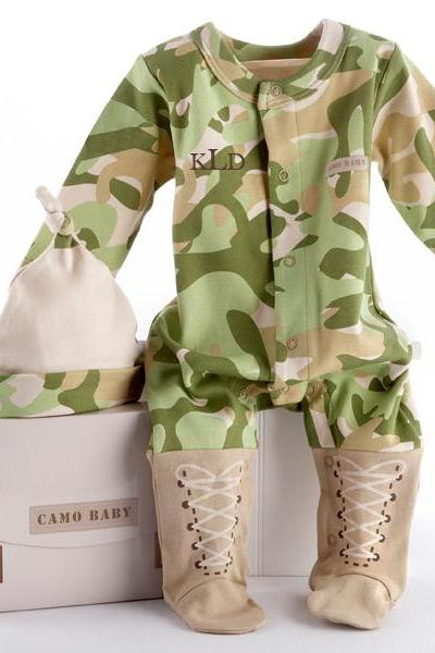 Personalized Embroidered Baby Army Baby Camo Two-Piece Layette Set in a gift ready Gift Box